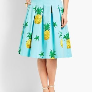 Talbots 8p Pineapple Pleated Skirt w/ POCKETS!